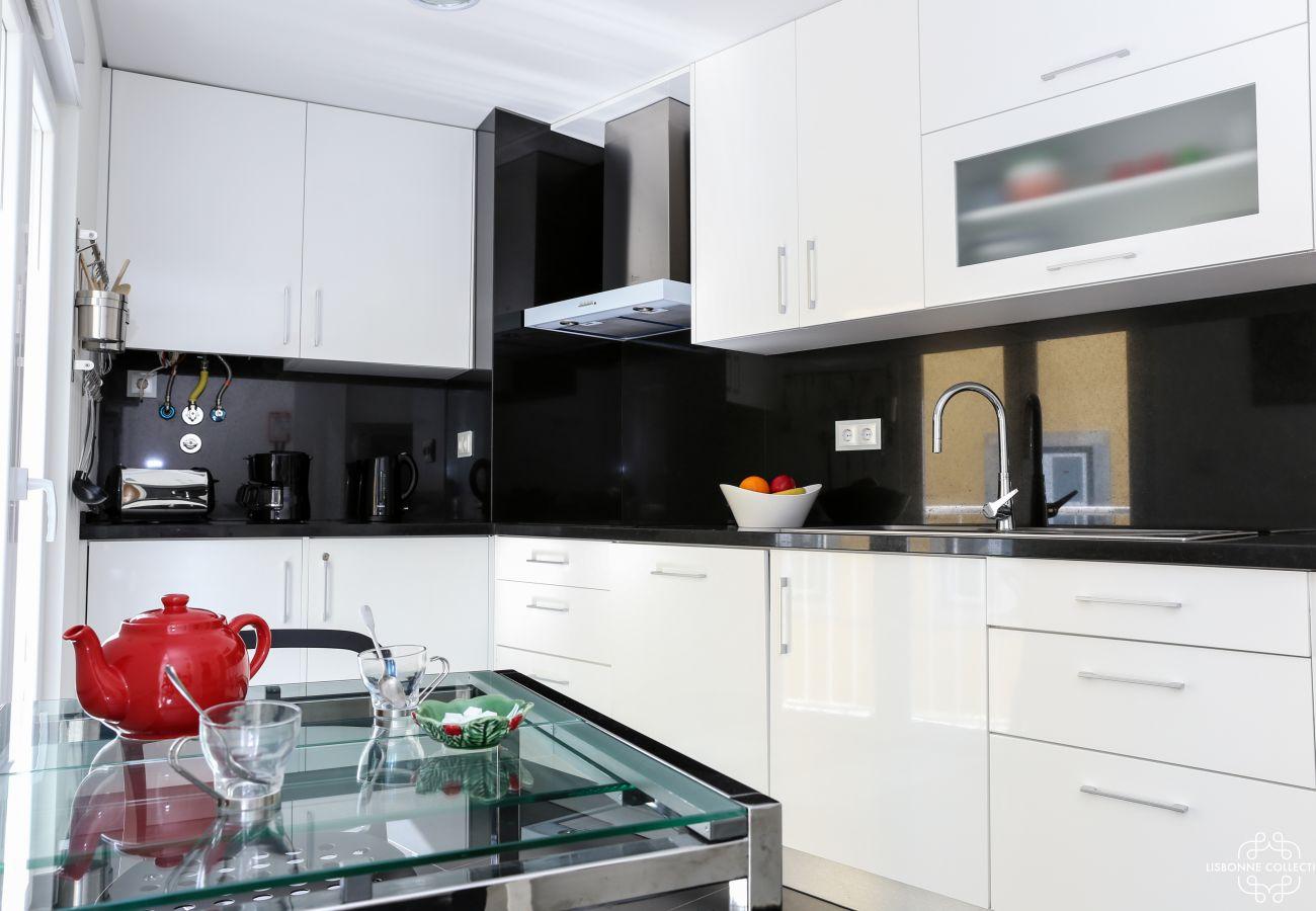 Cozinha de luxo em mármore preto e branco brilhante com placas de cozinha