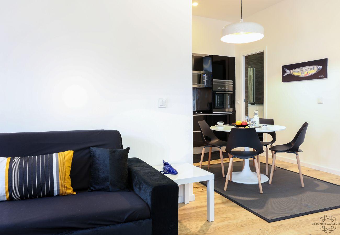 sala de estar cozinha sala de jantar aberta para alugar em Lisboa