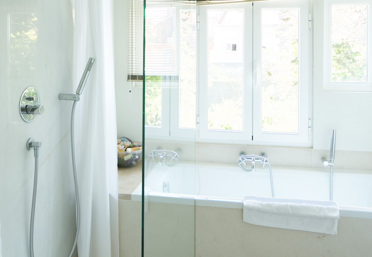 casa de banho brilhante e organizada com banheira e chuveiro