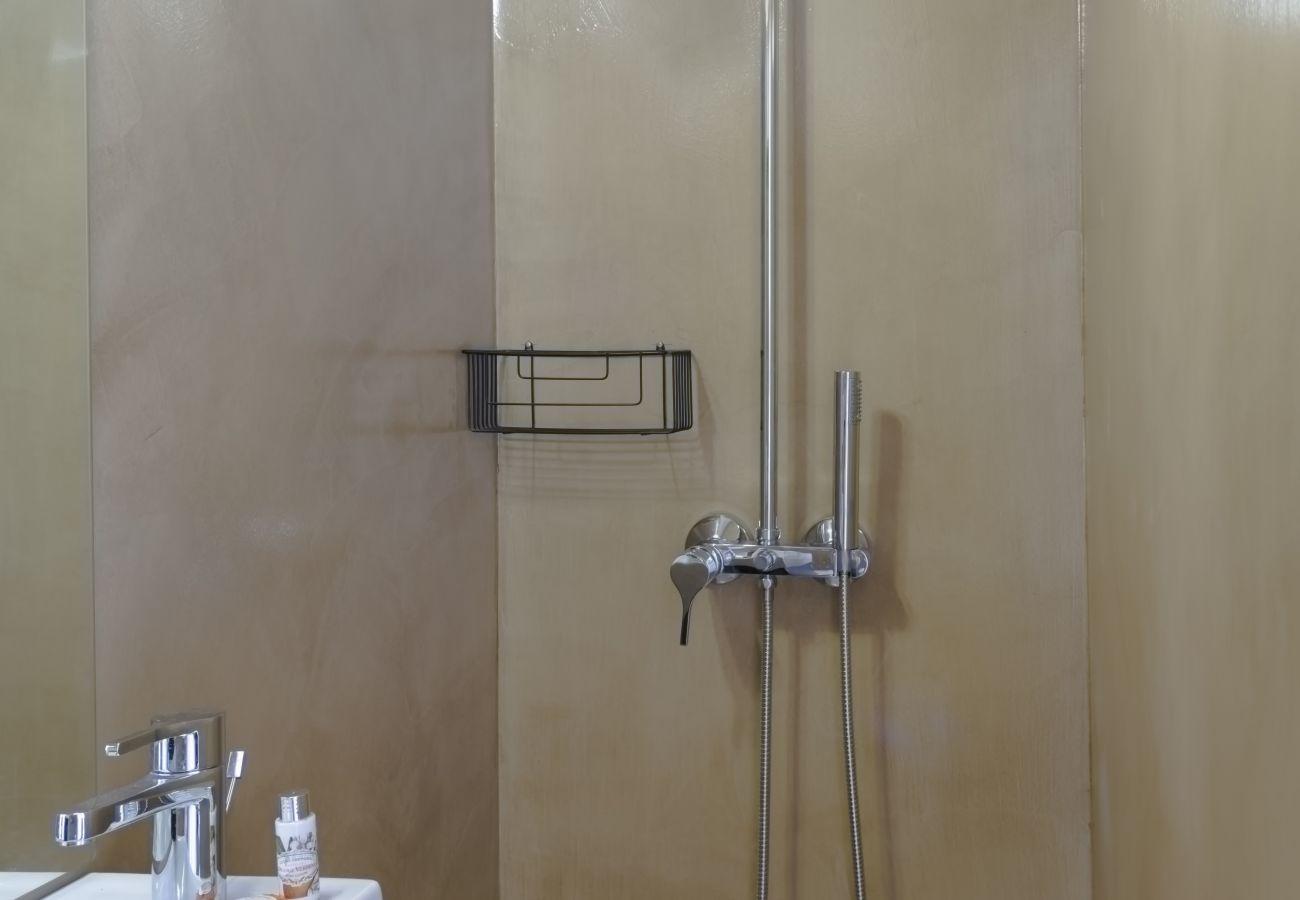Casa de banho com chuveiro moderno e sóbrio