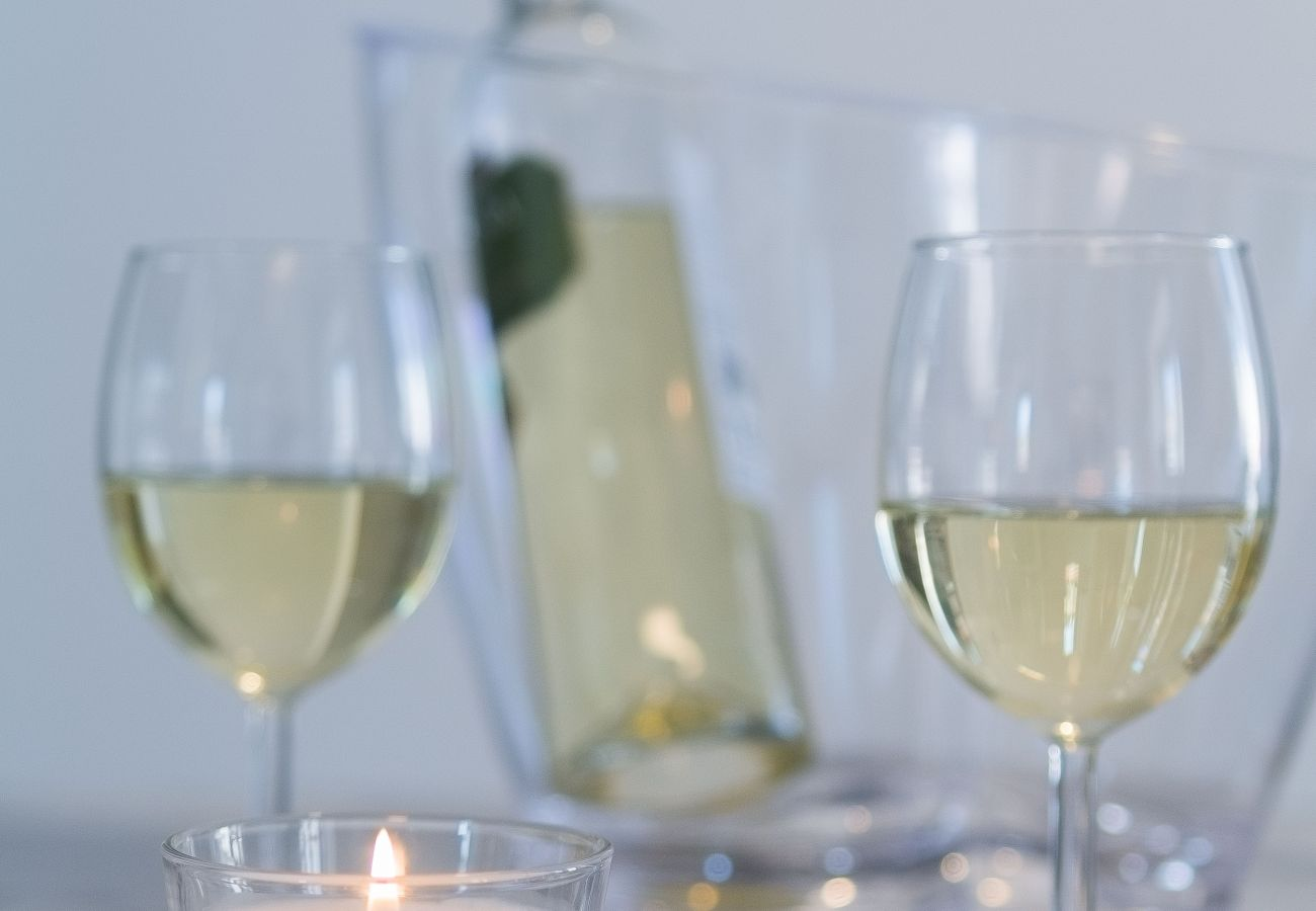 Copo de vinho branco para beber em um apartamento para alugar