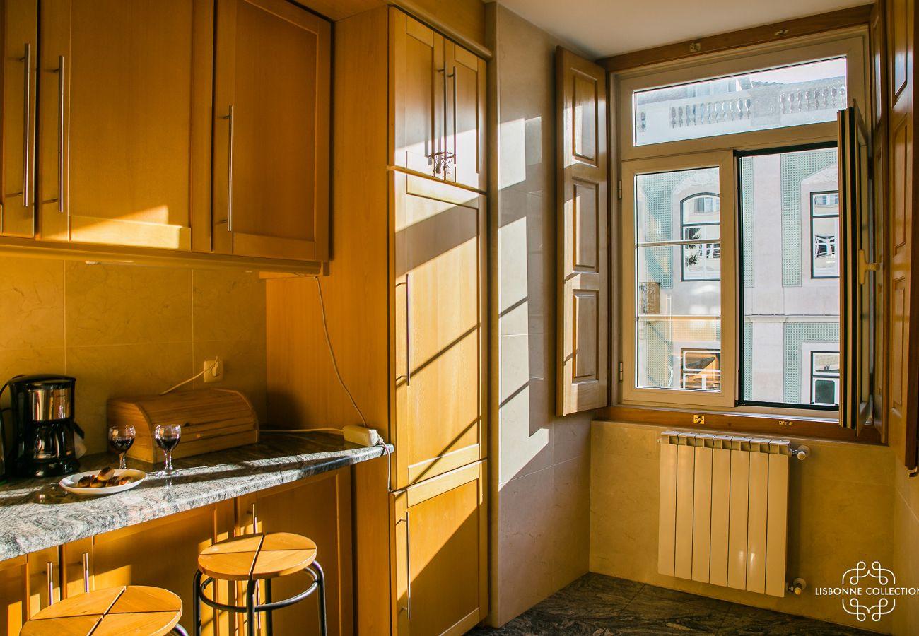 Grande cozinha totalmente equipada com vista para o bairro do castelo
